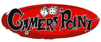 Logo GAMERS POINT GP transparent Oval mit zwei W6 Spielwuerfeln